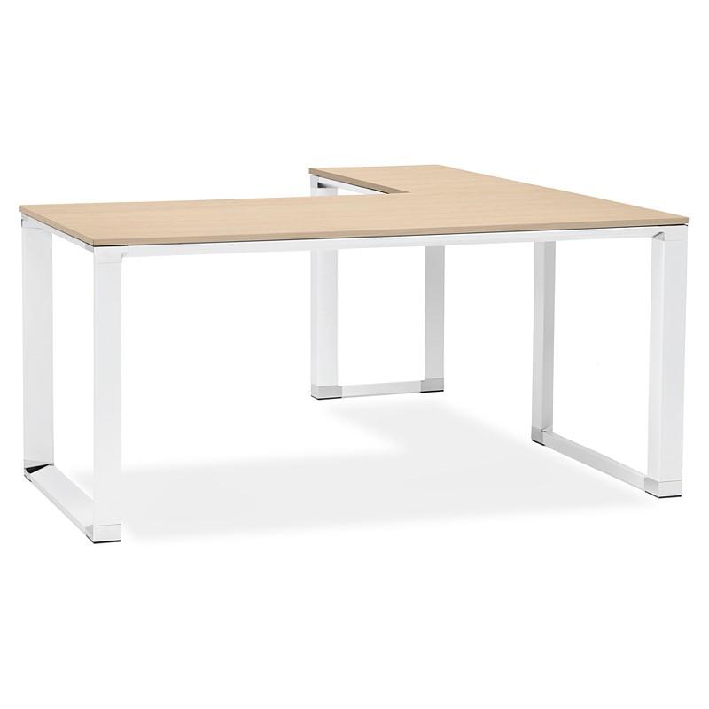 Bureau d'angle design CORPORATE en bois pieds blanc (naturel) - image 40255