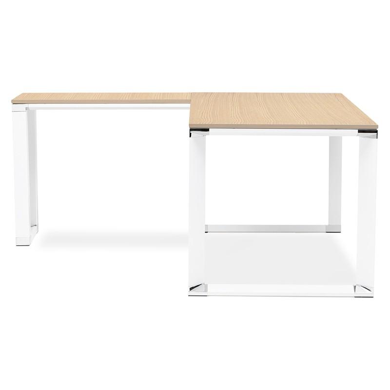 Bureau d'angle design CORPORATE en bois pieds blanc (naturel) - image 40256