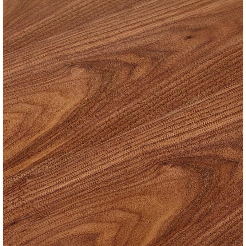 Bureau d\'angle design CORPORATE en bois pieds blanc (finition noyer)