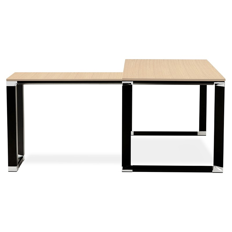 Bureau d'angle design CORPORATE en bois pieds noirs (naturel) - image 40268