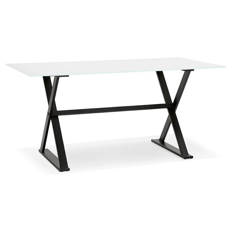 Table à manger design ou bureau (160x80 cm) WENDY en verre (blanc) - image 40287