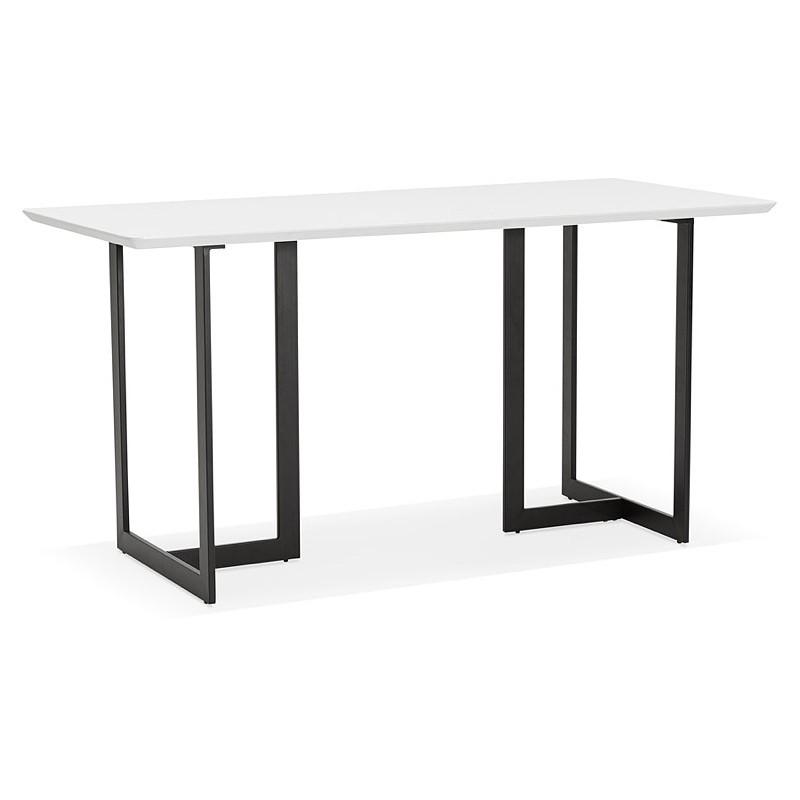 Table à manger design ou bureau (150x70 cm) ESTEL en bois (blanc mat)