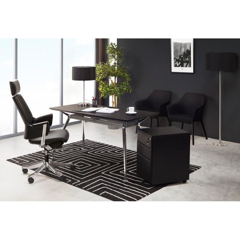 Bureau table de réunion moderne (80x160 cm) AMELIE en verre (noir) - image 40463