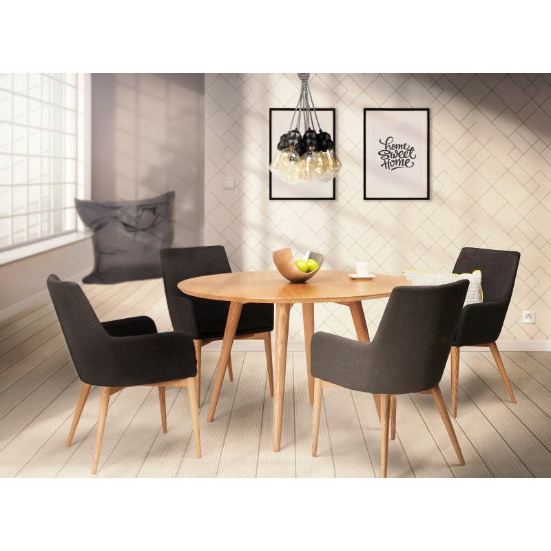 Diseño escandinavo estilo tela silla de BARBARA (gris oscuro) - image 40474