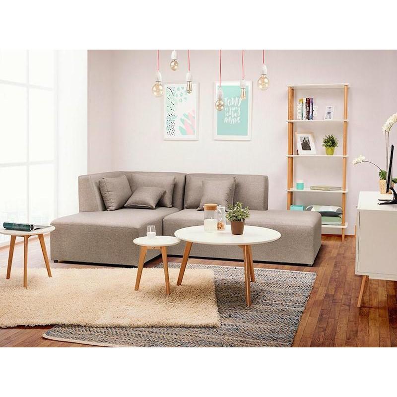 TAROT Scandinavian coffee table in wood and oak (white) - image 40478