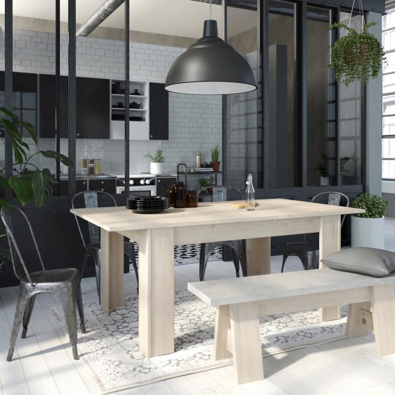 Mesa de comedor diseño extensible KINGSTON (roble natural) (155-190 ...