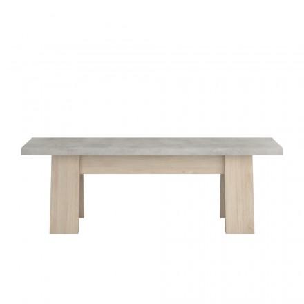 Panca in legno di stile industriale VICO (cemento rovere, naturale)