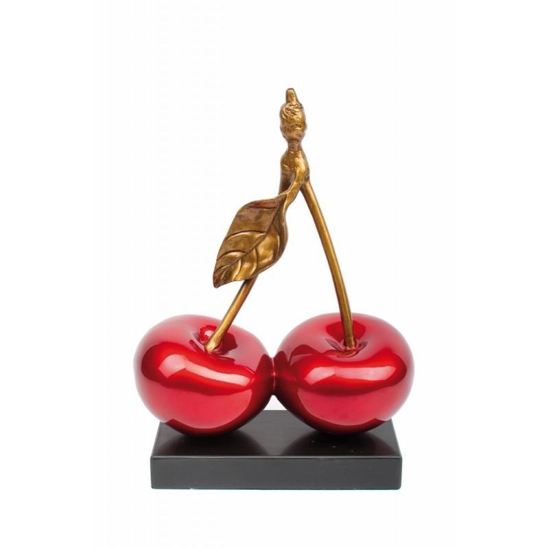 Statue sculpture décorative design CERISE DOUBLE en résine H46 cm (rouge)