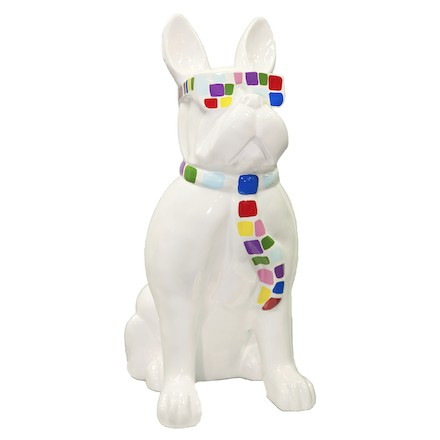 Statue sculpture décorative design CHIEN A CRAVATE COLOREE en résine H98 cm (blanc)