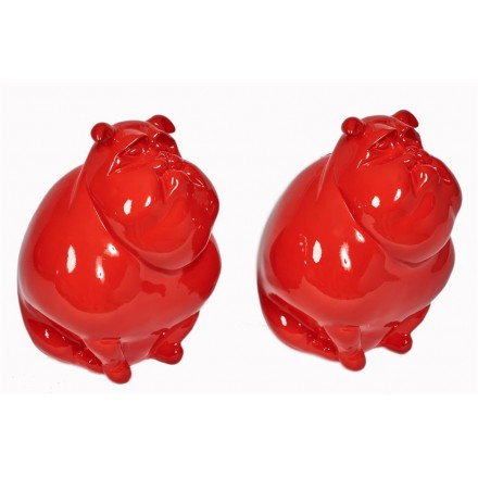 Set of 2 COUPLE of dogs design decorative sculptures statues resin H25 cm (red)