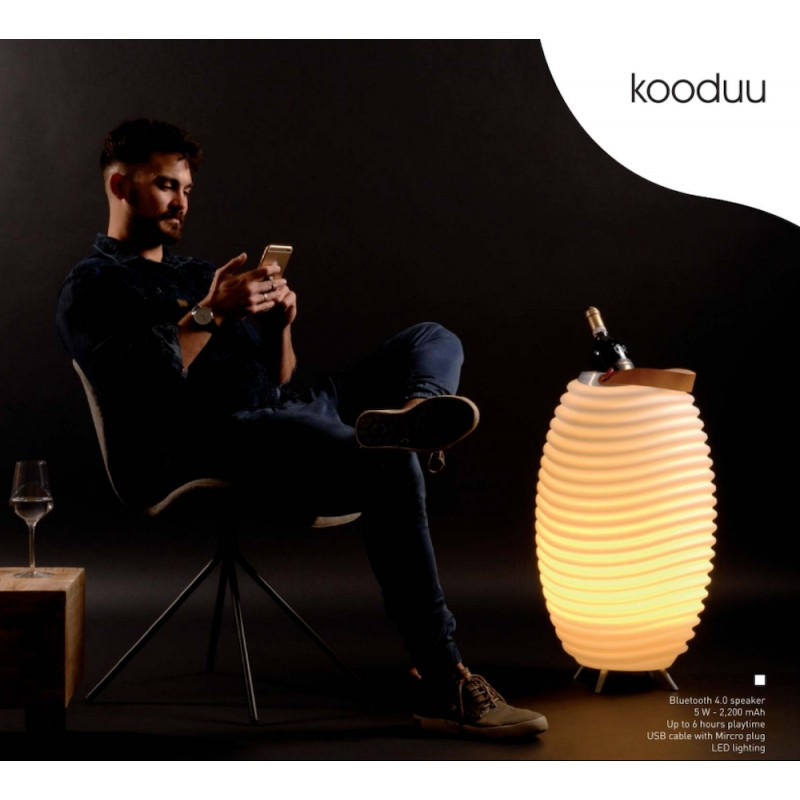 Lampe LED seau à champagne haut-parleur enceinte bluetooth KOODUU SYNERGIE S 35 (blanc) - image 40955