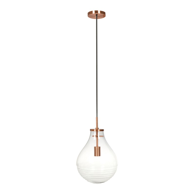 Lampe suspendue industriel small H 38 cm Ø 29 cm MASSY (Transparent, cuivre)