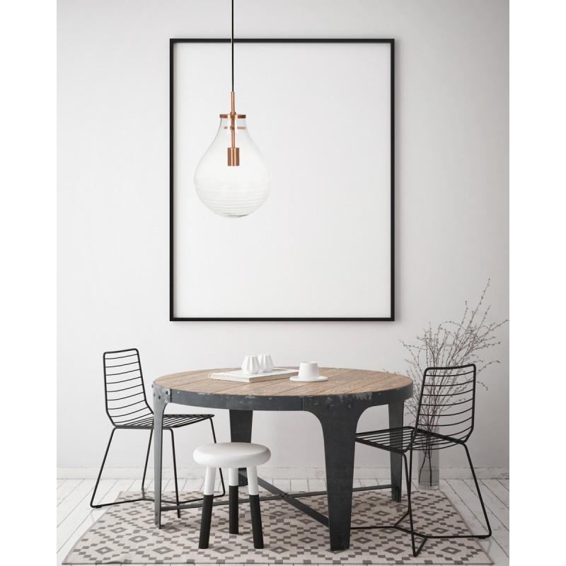 Lampe suspendue industriel small H 38 cm Ø 29 cm MASSY (Transparent, cuivre) - image 40982