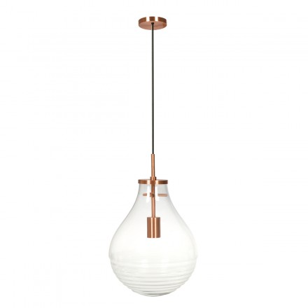 Lampe suspendue industriel large H 50 cm Ø 37,7 cm MASSY (Transparent, cuivre)