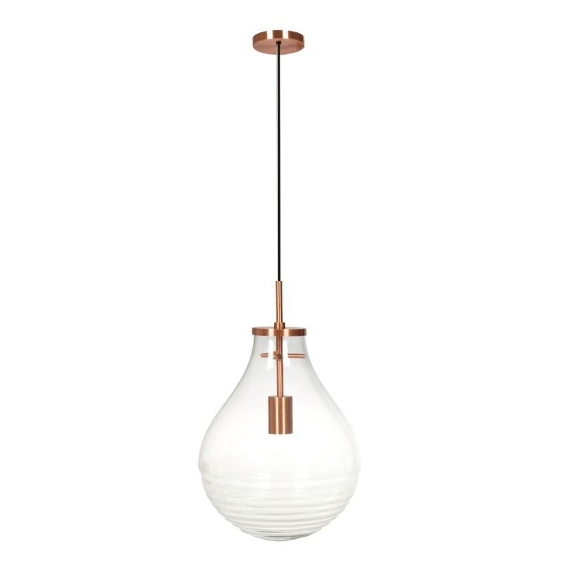 Lampe suspendue industriel large H 50 cm Ø 37,7 cm MASSY (Transparent, cuivre)