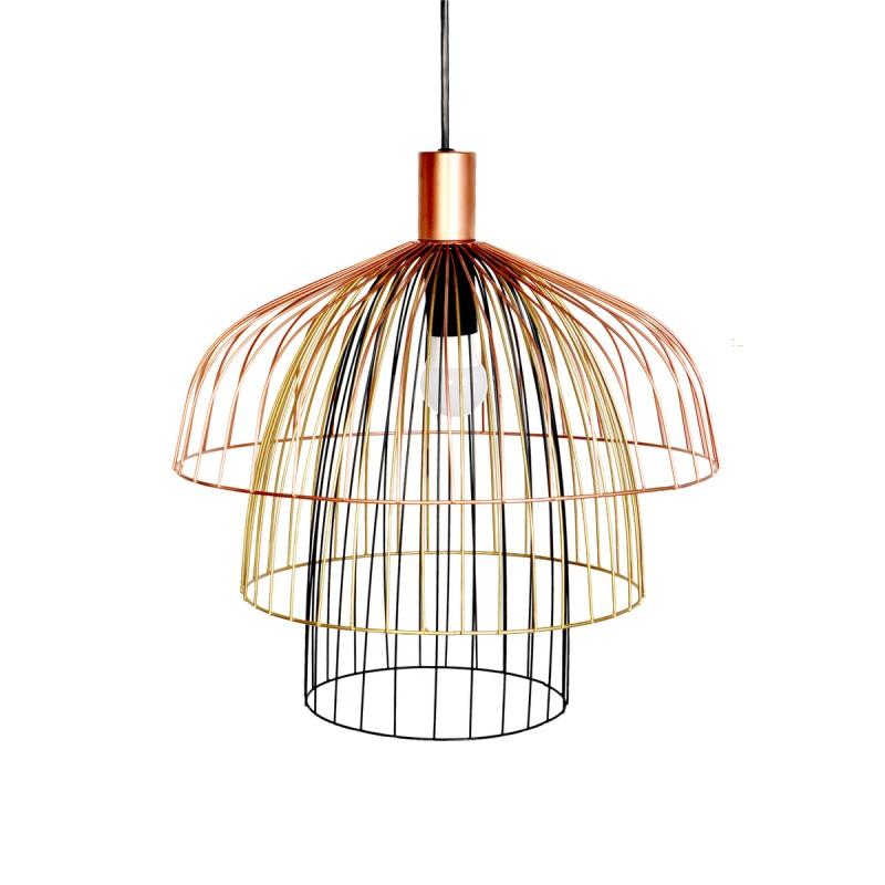 Lampe à suspension rétro H 37 cm Ø 40 cm TARA (multicolore) - image 40990