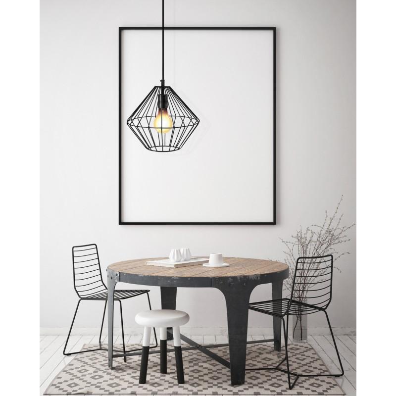 Lampe à suspension industriel H 37 cm Ø 29 cm YOURRY (noir) - image 40998