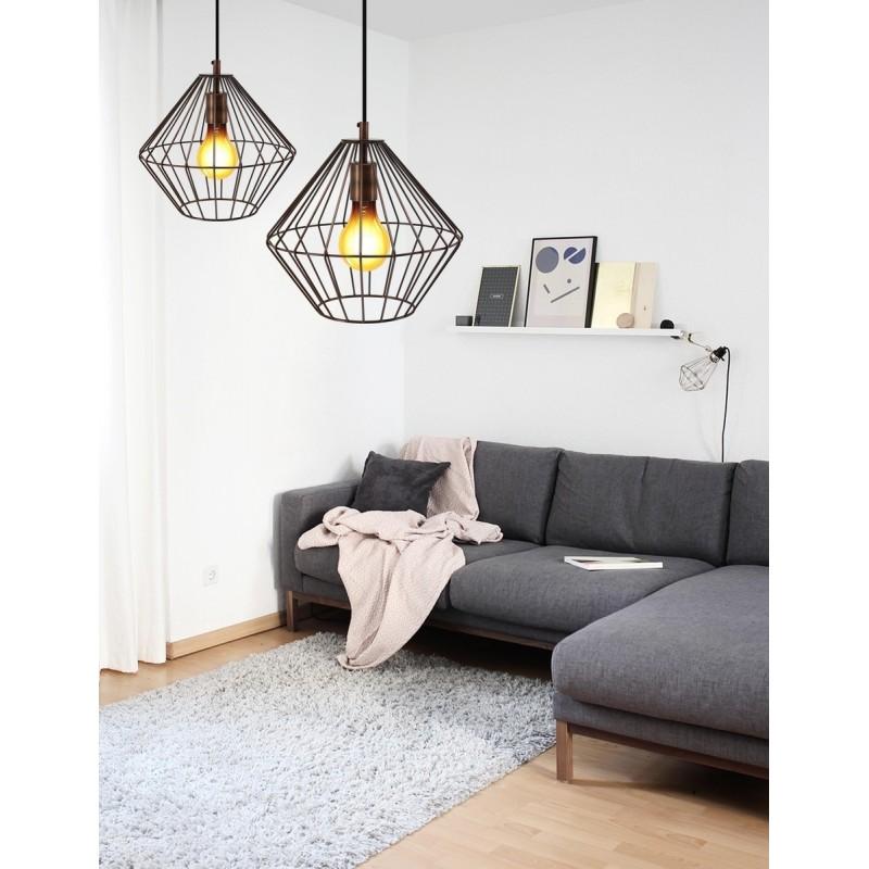 Lampe à suspension industriel H 37 cm Ø 29 cm YOURRY (cuivre) - image 41001