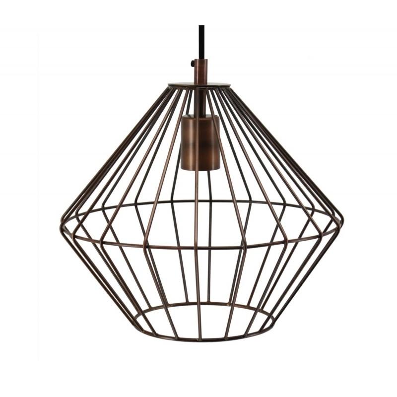 Lampe à suspension industriel H 37 cm Ø 29 cm YOURRY (cuivre) - image 41002