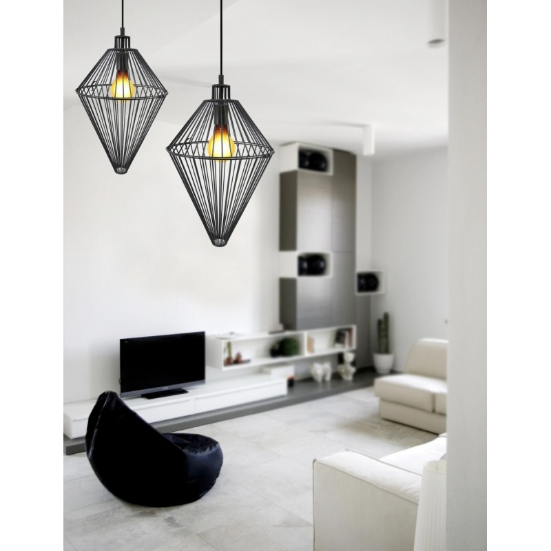 Lampe à suspension industriel H 52 cm Ø 32 cm SACHA (noir) - image 41004