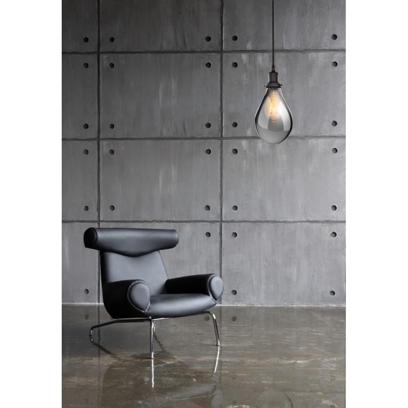Lampe à suspension industriel en verre H 25 cm Ø 18 cm LEONA (gris) - image 41084