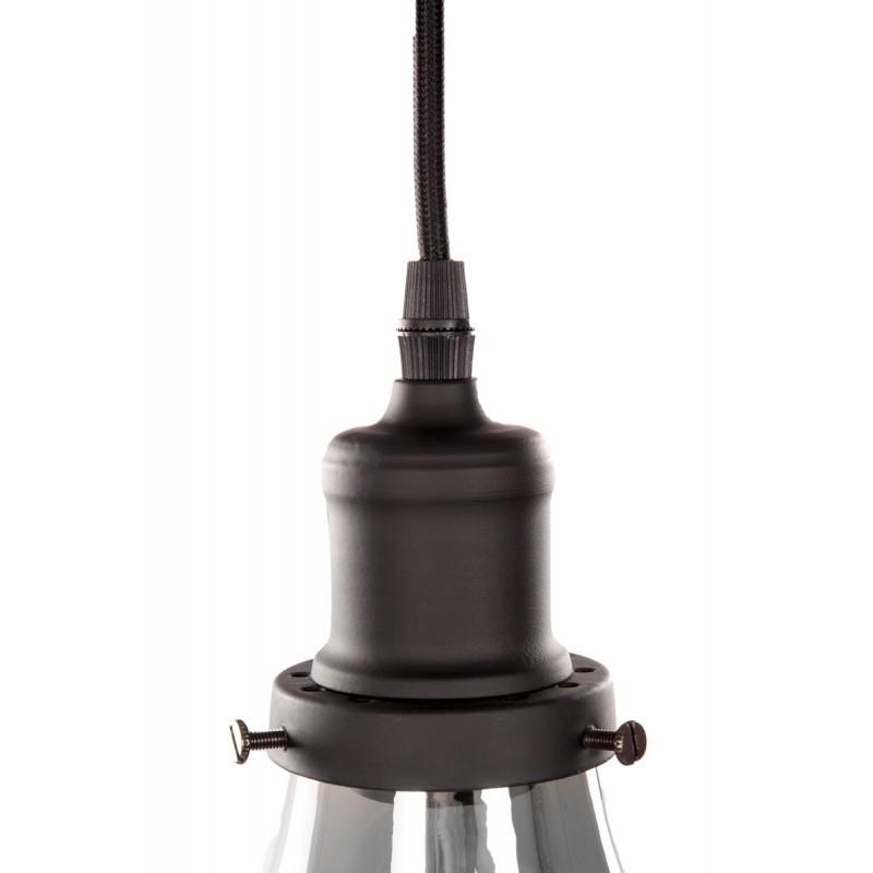 Lampe à suspension industriel en verre H 25 cm Ø 18 cm LEONA (gris) - image 41085