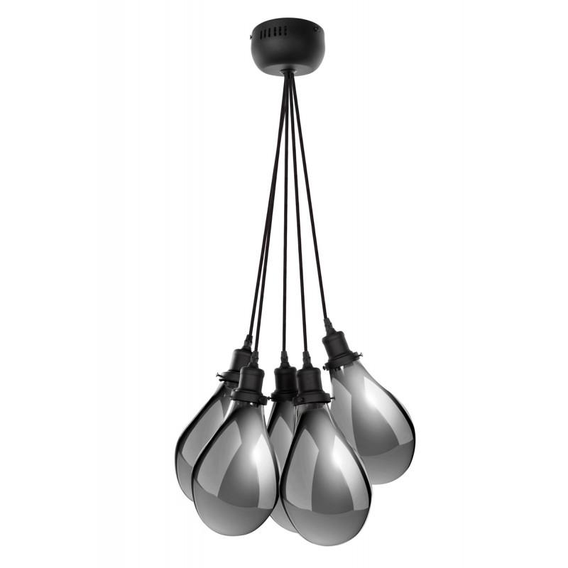Lampe à suspension industriel 5 globes en verre H 35 cm Ø 45 cm ANGEL (gris)
