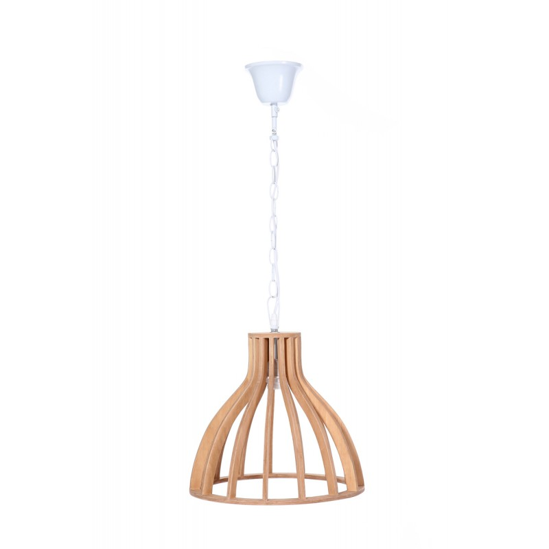 Lampe à suspension scandinave en bois H 38 cm Ø 34 cm TIYA (naturel) - image 41122