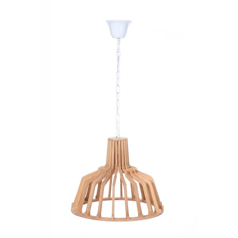 Lampe à suspension scandinave en bois H 39 cm Ø 41 cm TIYA (naturel) - image 41125