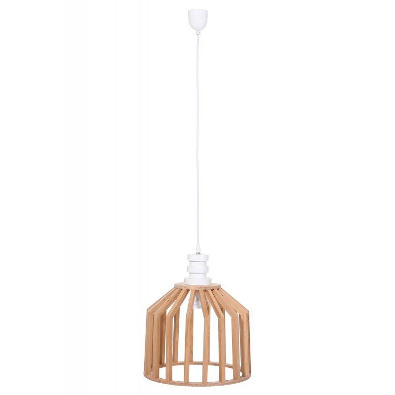 Lampe à suspension scandinave en bois H 39 cm Ø 33 cm TIYA (naturel) - image 41128