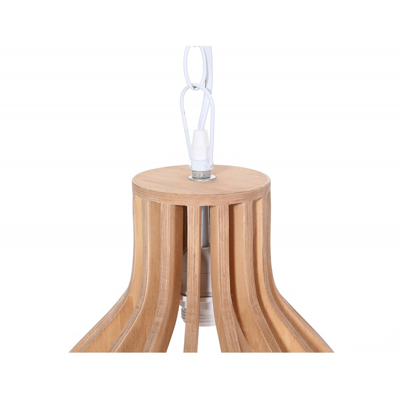 Lampe à suspension scandinave en bois H 38 cm Ø 34 cm TIYA (naturel) - image 41177
