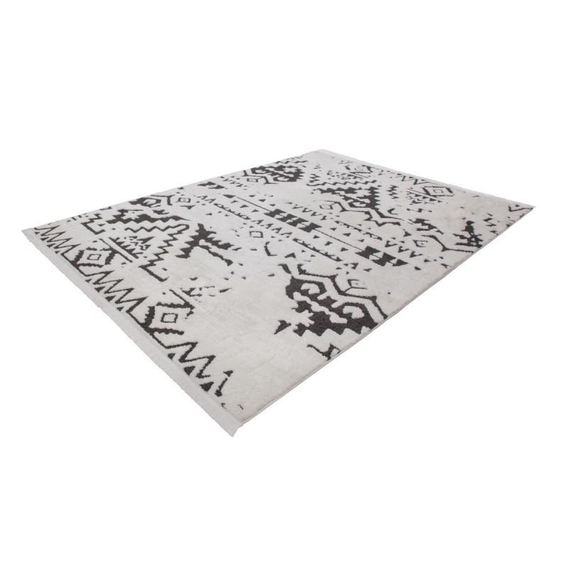 Tapis ethnique AGADIR rectangulaire tissé à la machine (Blanc Noir) - image 41289