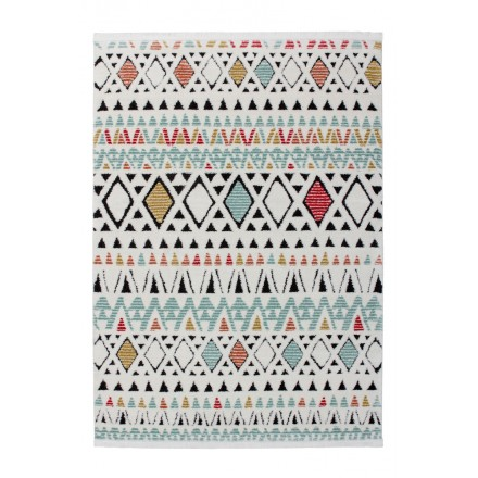 Rectangular Nador Ethnic Rugs Woven By Machine White Multicolor