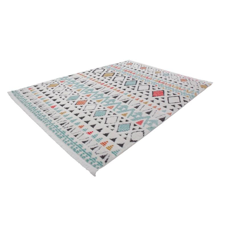 Tapis ethnique NADOR rectangulaire tissé à la machine (Blanc Multicolore) - image 41301