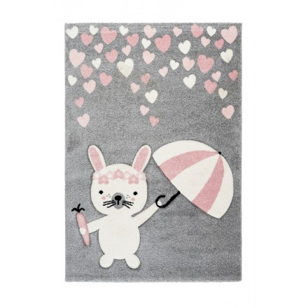 Tapis Enfant DARWIN rectangulaire tissé à la machine (Rose)