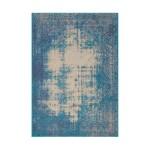 Tapis vintage PORTLAND rectangulaire tissé à la machine (Bleu turquoise)