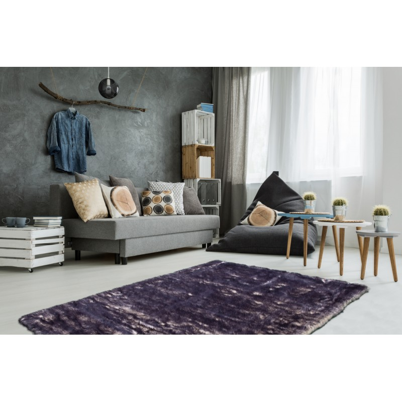 Carpet CHICAGO sheep imitation rectangular tufted by hand (purple Beige) - image 41492
