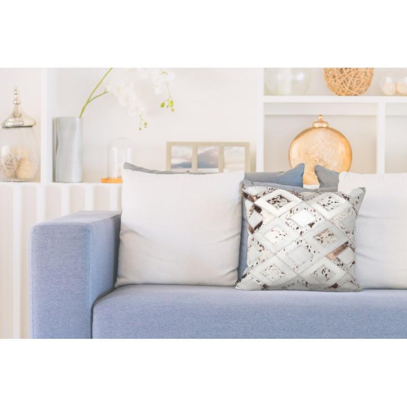 100% leather BOSTON rectangular cushion handmade (bronze ivory) - image 41517