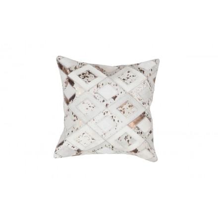 100% pelle BOSTON cuscino quadrato a mano (bronzo Avorio)