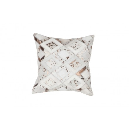 100% leather BOSTON square cushion handmade (bronze ivory)