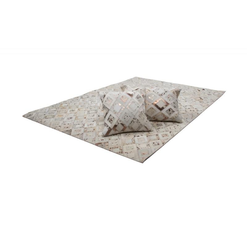 100% leather BOSTON square cushion handmade (bronze ivory) - image 41521