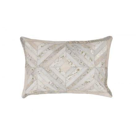 100% pelle ORLANDO cuscino rettangolare bronzo lavorato a mano (Avorio)