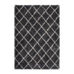 Graphic rug rectangular Hungary made hand (grey-black)