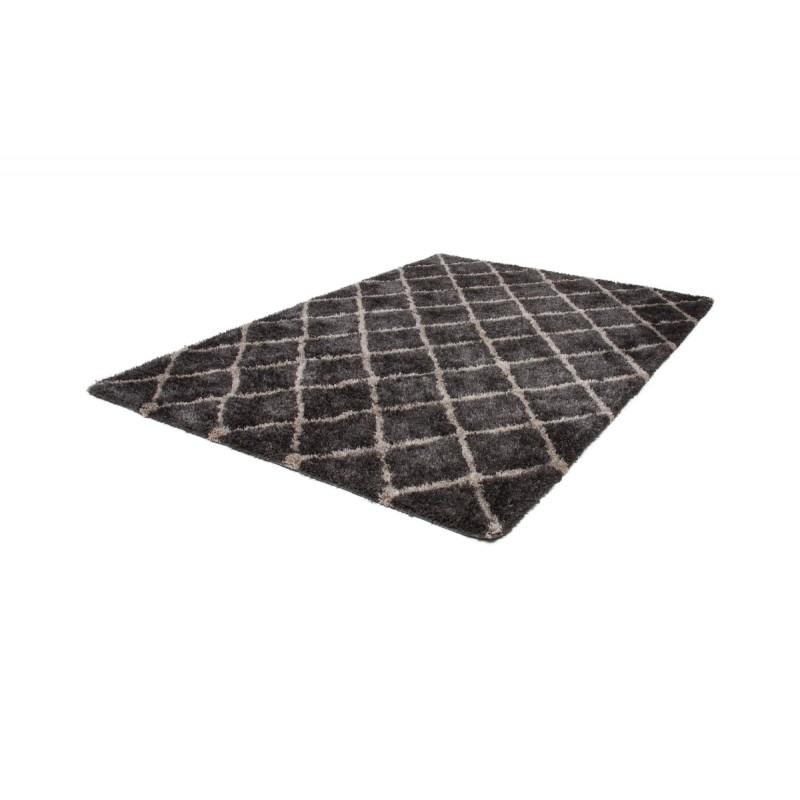 Tapis graphique HONGRIE rectangulaire fait main (Gris-noir) - image 41585