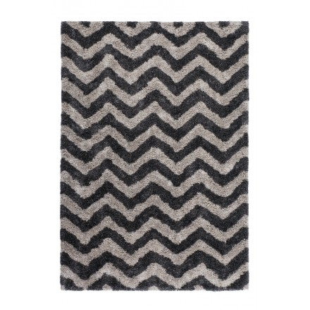Graphic rug rectangular DANUBE made hand (grey-black)
