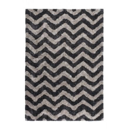 Grafischen Teppich rechteckig DANUBE Hand gemacht (grau-schwarz)