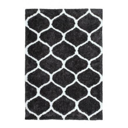 Graphic rug rectangular VESUBE made hand (grey-black)