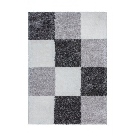 Graphic rug rectangular BOURGAS done hand (grey anthracite grey)