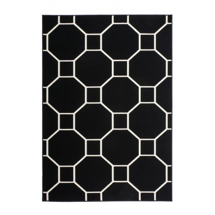 Graphic rug rectangular RAGUSA woven machine (black ivory)