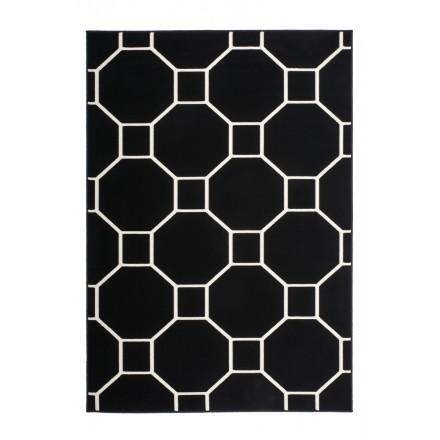 Grafischen Teppich rechteckig RAGUSA gewebt Maschine (Schwarz Elfenbein)